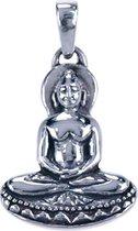 Zilveren Boeddha rustende handen ketting hanger - 3