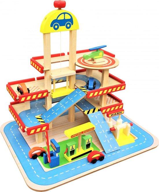 Afbeelding van Mamabrum Houten Speelgoed Garage - Met Lift - Hout Parkeergarage - Set met autos en wasstraat speelgoed