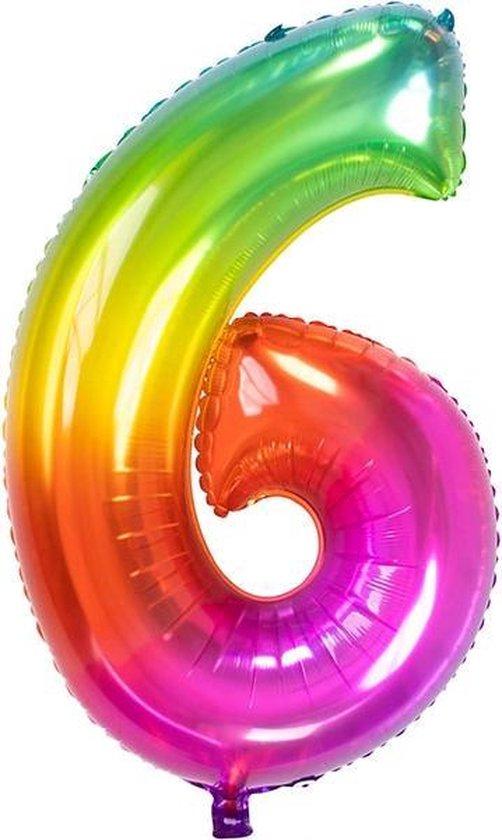 Folieballon Cijfer 6 Yummy Gummy Rainbow