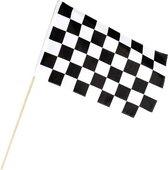 2x Finish vlag zwaaivlag wit/zwart geblokt 30 x 45 cm - Formule 1 vlag - Race vlaggen