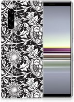 Back Cover Sony Xperia 5 TPU Siliconen Hoesje Black Flowers