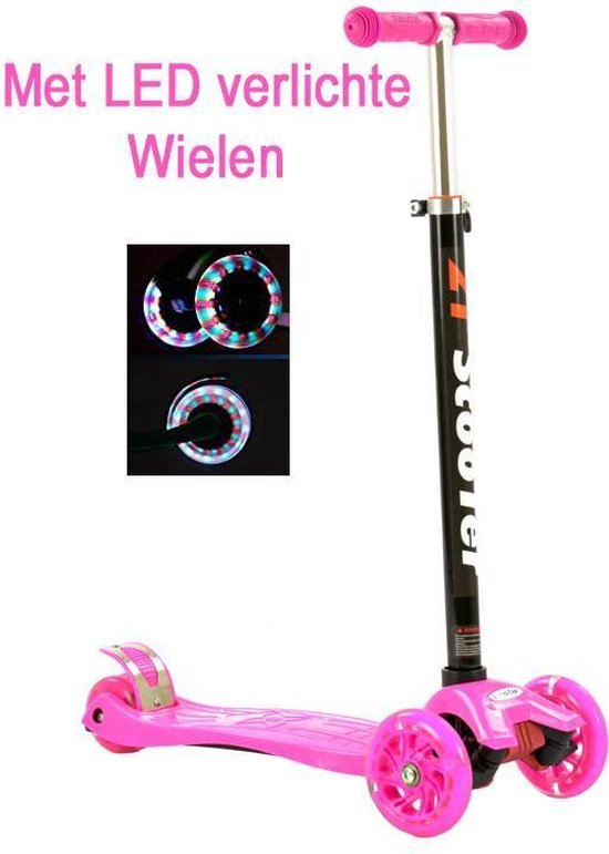 2Cycle Step - LED Wielen - Roze - Autoped - Scooter
