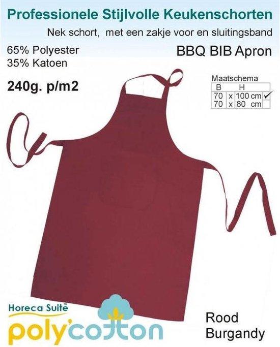 Keukenschorten BBQ BIB Apron - Bordeaux - 70x100cm