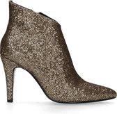 Manfield Dames Goudkleurige enkellaarsjes met glitters Maat 40
