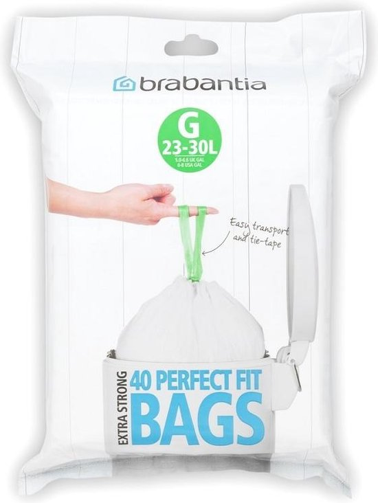Brabantia PerfectFit Afvalzak met Trekbandsluiting - 23/30 l - Code G - 40 stuks