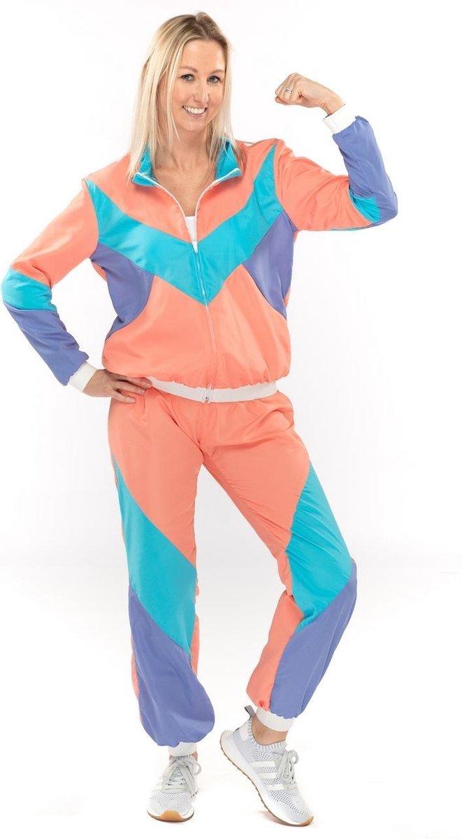 Grappig & Fout Kostuum   Fout 80s Trainingspak New Kids Jaren 80 Yannah   Vrouw   XL   Carnaval kostuum   Verkleedkleding