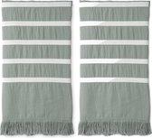 Walra Hamamdoek Fouta Sunny Stripes - 2 stuks - 100x180 cm - Jade
