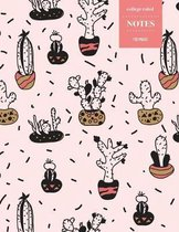 College Ruled Notes 110 Pages: Cactus Floral Notebook for Professionals and Students, Teachers and Writers - Retro Sketch Style Cactus with Pink Back