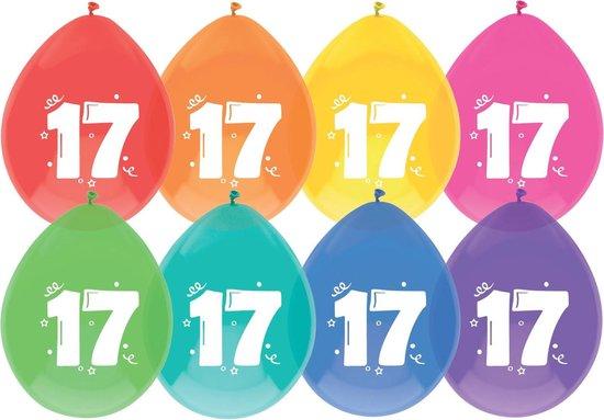 """Haza Original Ballonnen Multicolor Met Opdruk """"17"""" 30 Cm 8 Stuks"""