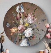 HIP ORGNL Bloemstilleven met porseleinen vaas - Balthasar van der Ast | rond schilderij | wandcirkel | muurcirkel | ronde oude meesters | ⌀ 80 cm | wanddecoratie | kunstwerken | dibond | aluminium