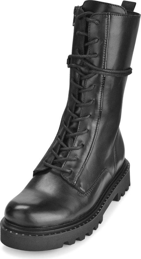 PS Poelman Hoge Leren Veter Boots met Lakleren Piping Saturno Zwart Dames Maat 40