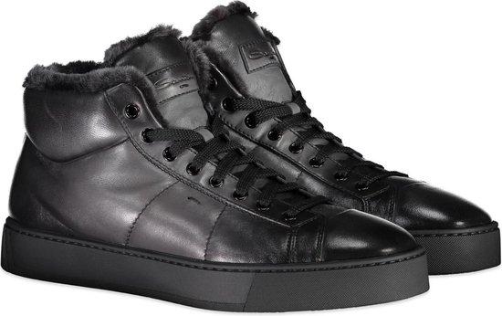 Santoni Sneaker Grijs  - Maat 40.5 - Heren - Herfst/Winter Collectie - Leer