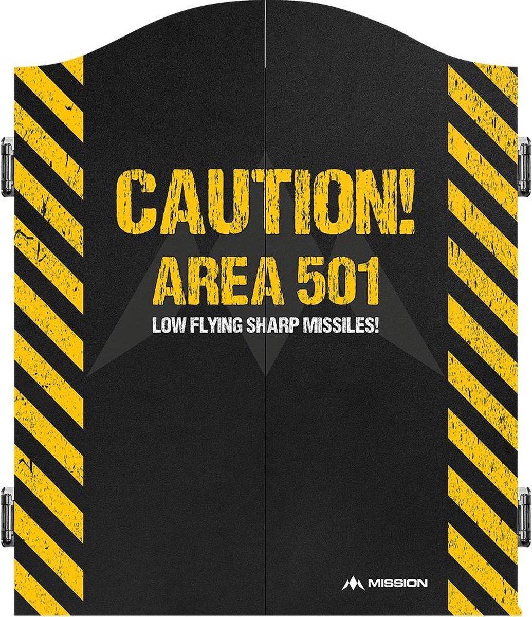 Mission Dartbord Deluxe Cabinet - Caution
