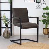 Bronx71® Eetkamerstoel antraciet Block - Eetkamerstoelen met armleuningen - Industrieel - Eco leer stoel - Waterafstotend - Eetkamerstoel grijs