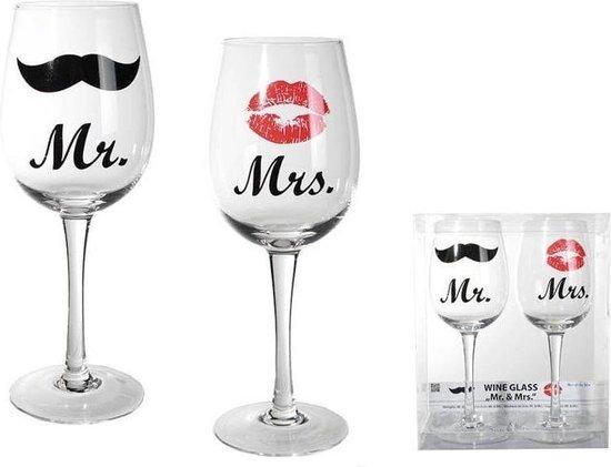 MikaMax Mr & Mrs Wijnglazen - Wijnglas - 430 ML - 2 Stuks - Valentijnsdag Cadeau - MikaMax