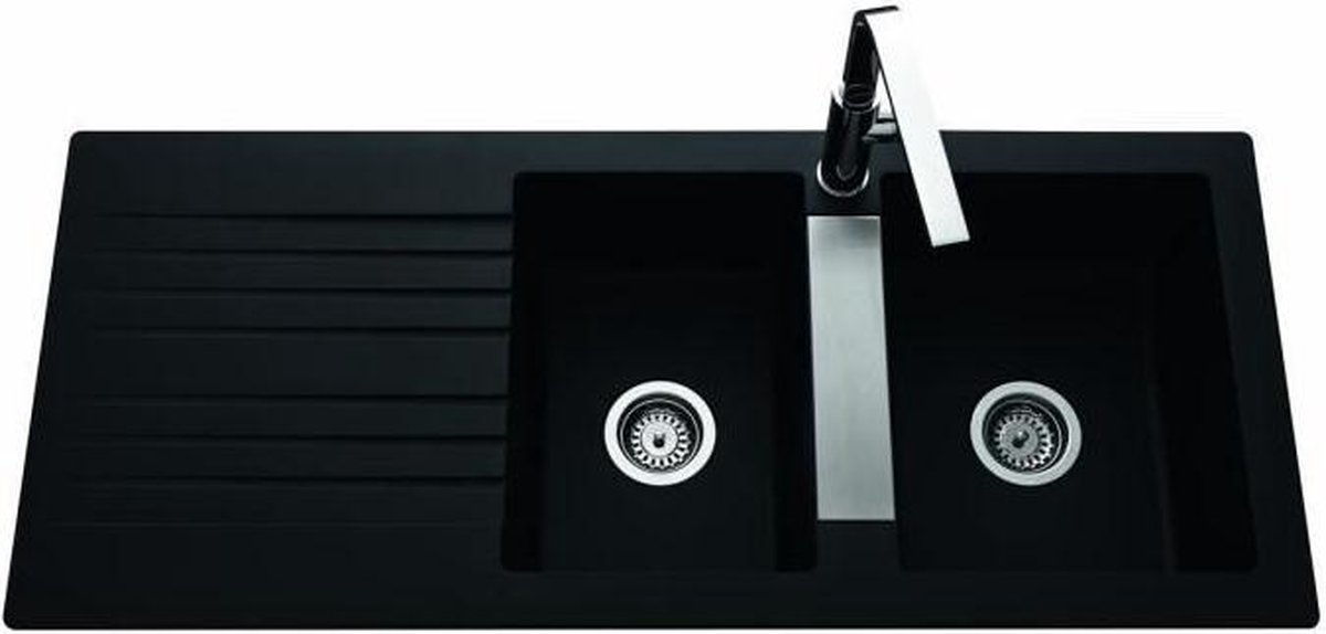 EWI Ingebouwde gootsteen 2 wastafels + 1 afdruiprek Soledad - Hars - 116 x 50 cm - Zwart