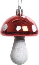 4x Kerstboomhangers rode paddenstoelen 7 cm kerstversiering - Rode kerstversiering/boomversiering