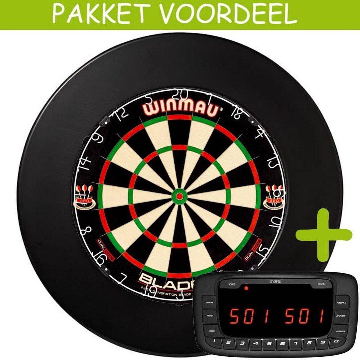 Elektronisch Dart Scorebord VoordeelPakket (Chalkie ) - Dual Core - Rubberen Surround (Zwart)