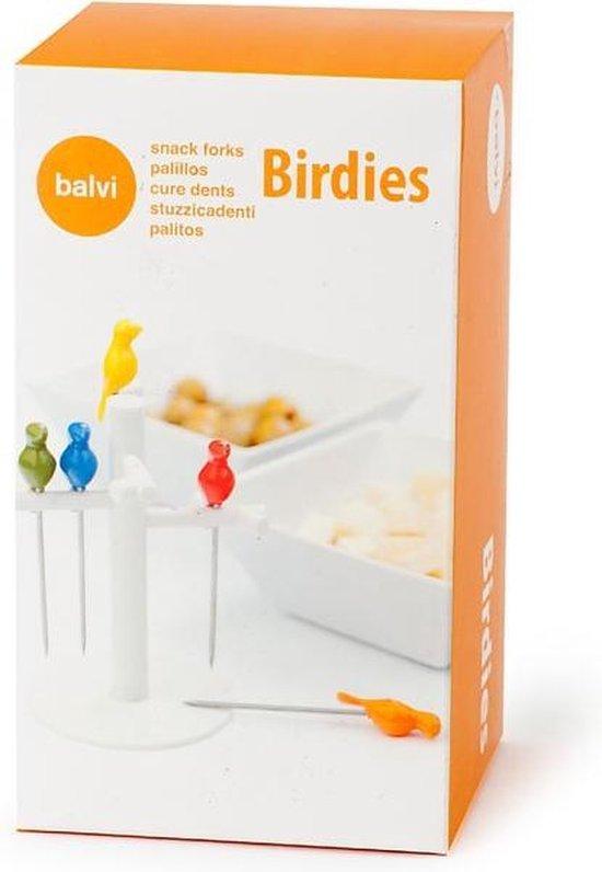 Balvi Birdies - 6 herbruikbare cocktailprikkers - 14,5 Cm Rvs/abs Zilver