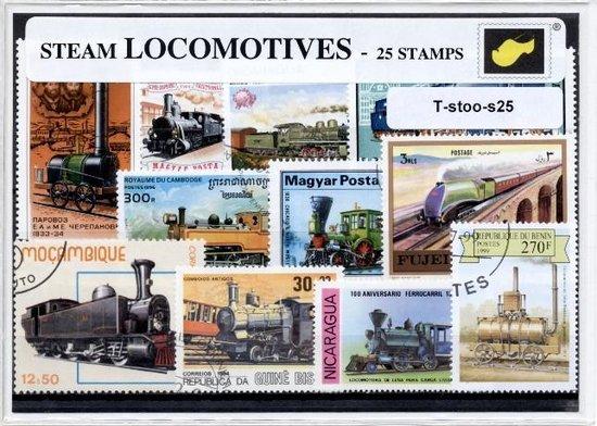 Afbeelding van het spel Stoomlocomotieven - postzegelpakket cadeau met 25 verschillende postzegels