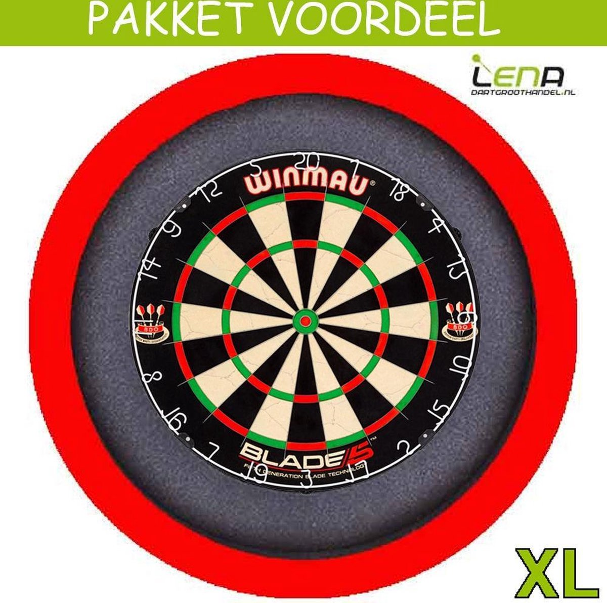 Dartbord Verlichting Voordeelpakket Pro + Blade 5 + Dartbordverlichting Basic XL(Rood)