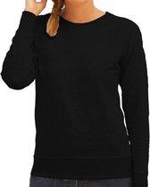 Zwarte sweater / sweatshirt trui met raglan mouwen en ronde hals voor dames - zwart - basic sweaters L (40)