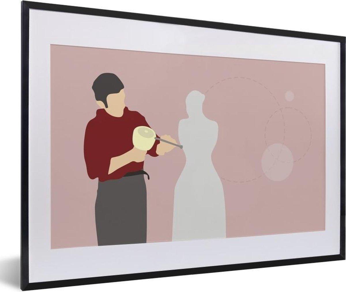 Poster met lijst Beeldhouwen illustratie - een beeldhouwer die een standbeeld uit een blok steen beitelt fotolijst zwart met witte passe-partout middel - fotolijst zwart - 60x40 cm - Poster met lijst