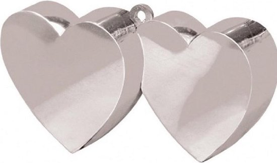 Set van 12x stuks ballon gewichtjes dubbele hartjes zilver 25 jaar getrouwd - Bruiloft feestartikelen