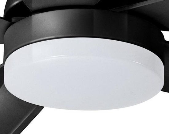 The Fan no.4 plafondventilator met lamp LED 5 blads Dimbaar Zwart 132cm