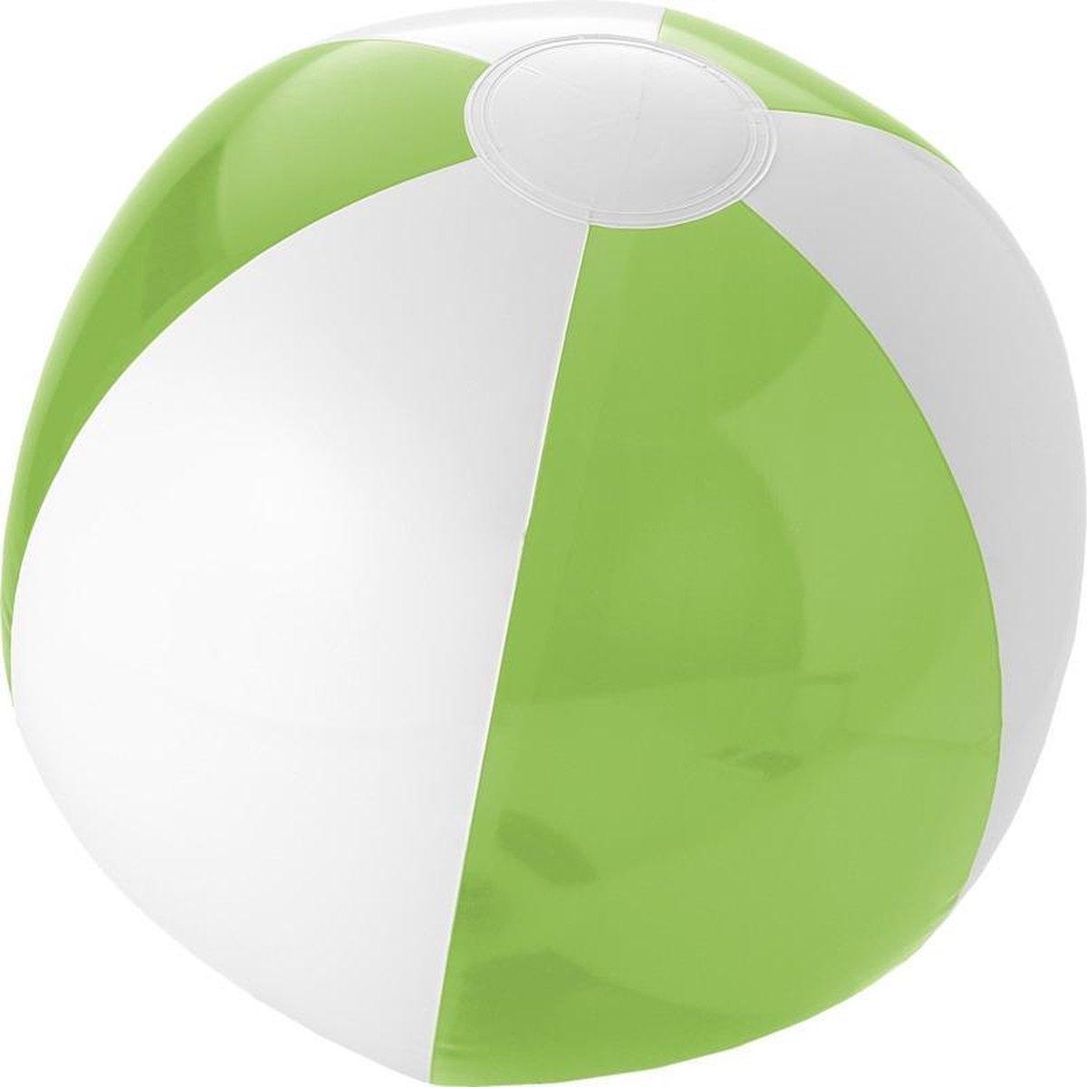1x Opblaasbare strandballen groen/wit 30 cm - Buitenspeelgoed waterspeelgoed opblaasbaar