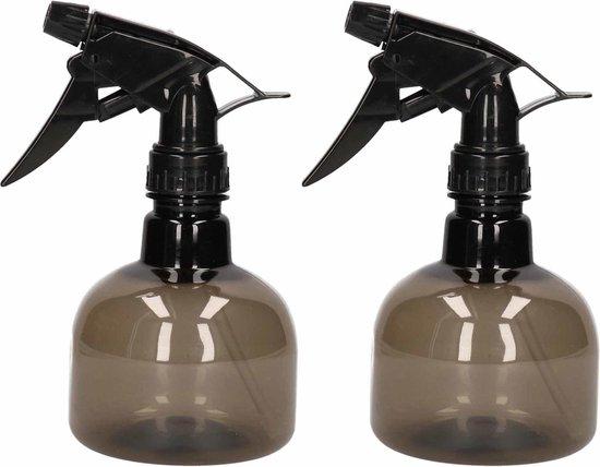 2x Waterverstuivers/spuitflessen 330 ml zwart - Plantenspuiten/schoonmaakspuiten
