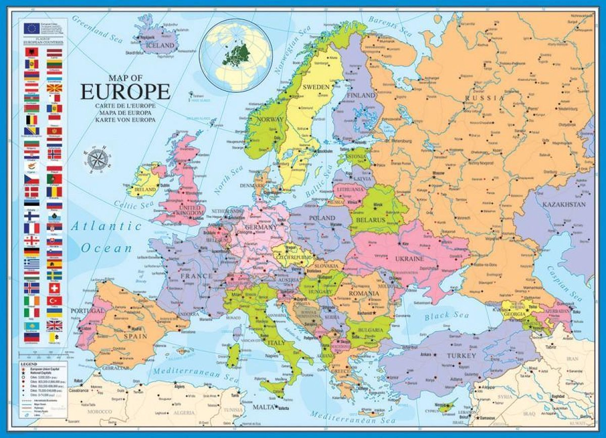 Puzzel 1000 stukjes - Map Of Europe