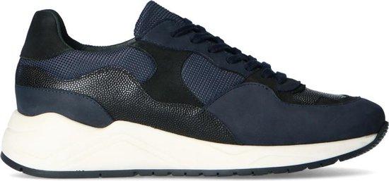 Sacha - Heren - Zwarte sneakers met donkerblauwe details - Maat 45