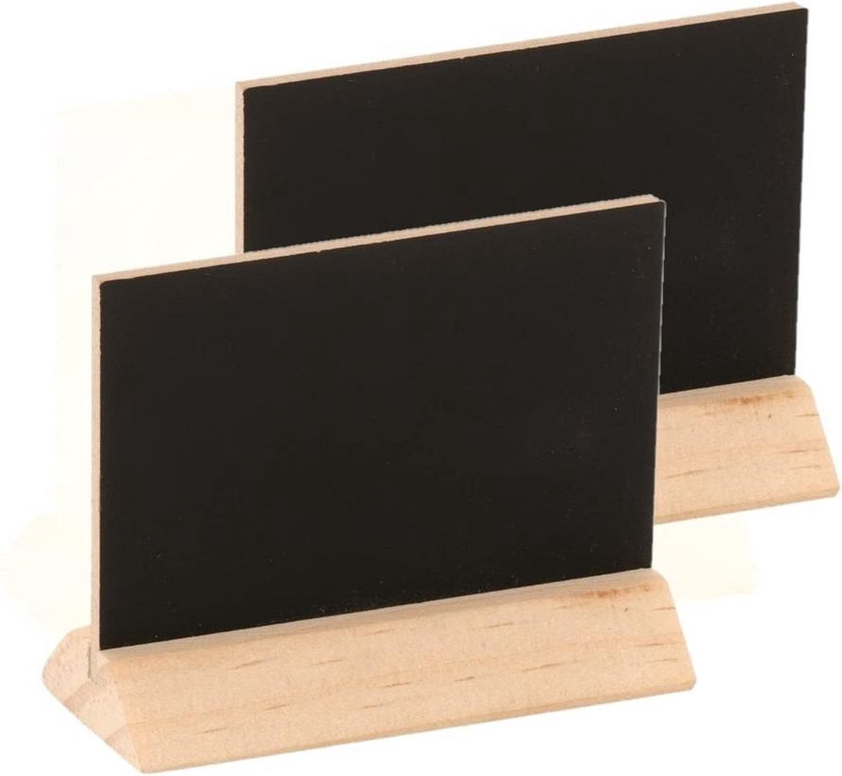 Merkloos / Sans marque Set van 4x stuks houten mini krijtbordje/schrijfbordje/memobordje op voet 6 cm Hobby/knutselbenodigdheden tekenbord Home deco Naamkaartjes online kopen