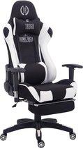 Clp Managerstoel TURBO directiestoel, Gaming chair met voetsteun, hoogte verstelbaar, ergonomisch, belastbaar tot 150 kg, stof - Zwart/wit