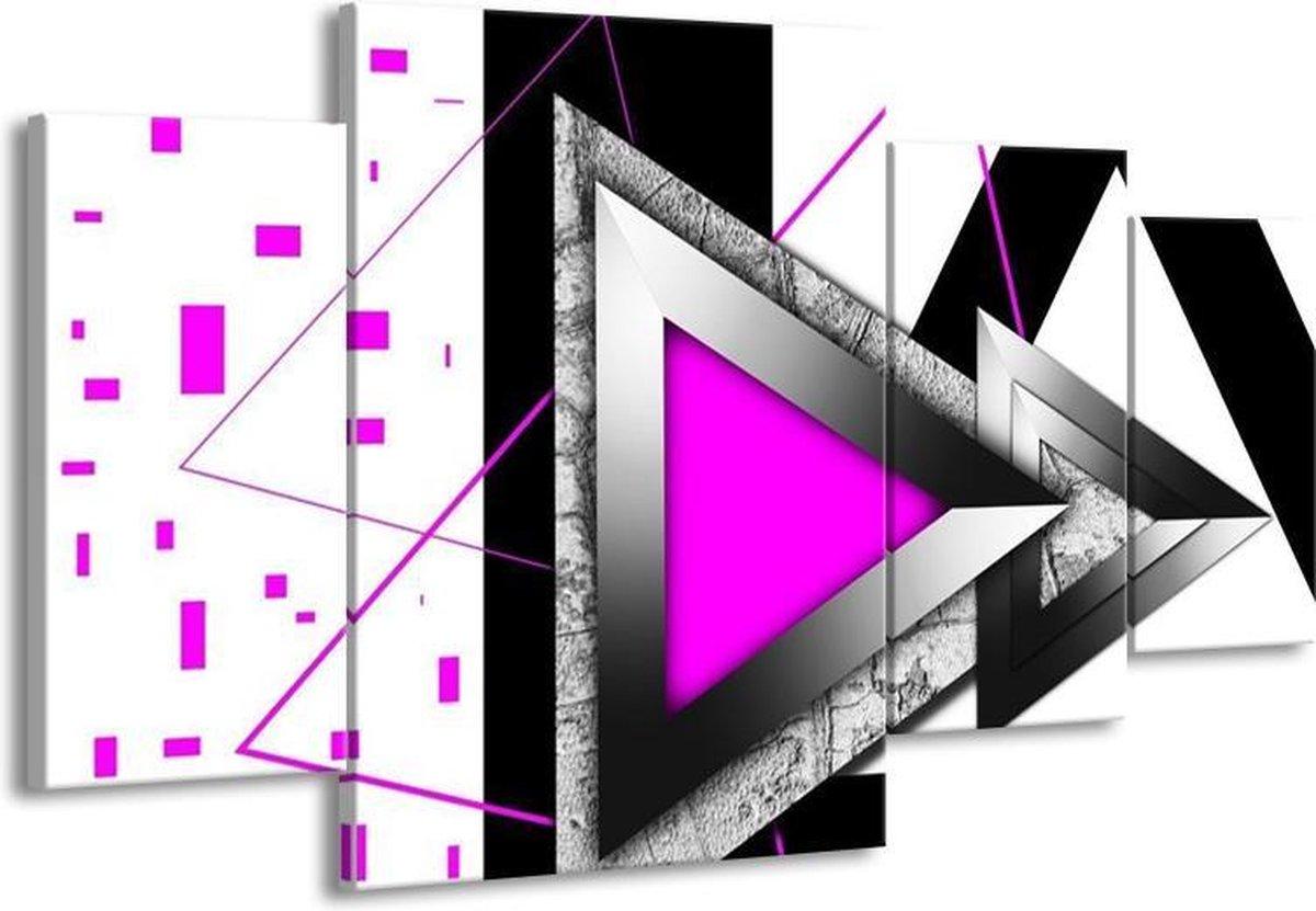 Canvas schilderij Abstract   Roze, Wit, Grijs   160x90cm 4Luik