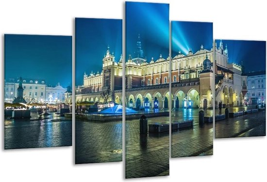 Glasschilderij Gebouw | Grijs, Blauw | 170x100cm 5Luik | Foto print op Glas |  F006018