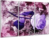 Canvas schilderij Roos | Paars, Wit, Roze | 120x80cm 3Luik