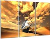 Canvas schilderij Boot   Geel, Bruin, Wit   120x80cm 3Luik