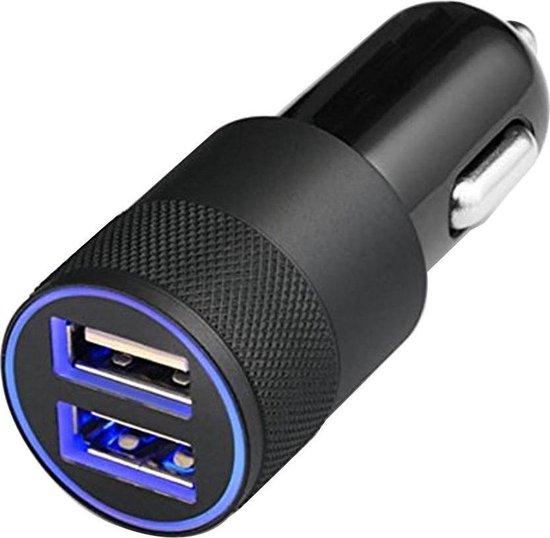 Universele Autolader (ZWART) - 2 USB Poorten - 5V/1.0 + 2.1A - inclusief Blauwe LED