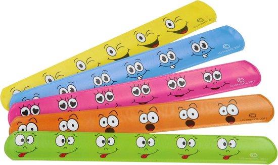 Klaparmband Lachgezicht set van 36 stuks – 6 verschillende kleuren