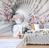 Fotobehang Modern 3D Flowers And Bubbles Tunnel View   V8 - 368cm x 254cm   130gr/m2 Vlies