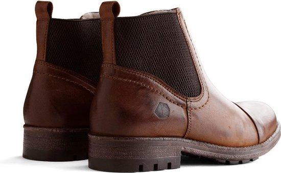 Nogrz J.webb - Dames Leren Enkellaars Winter Chelsea Boots Wol Gevoerd Cognac Maat 37 zx2o04