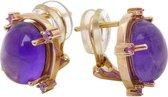 Rosé gouden oorbellen met amethyst