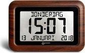 GEEMARC VISO10 Digitale kalender klok met complete dag / datum / tijdweergave - Houtlook