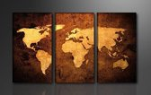 Schilderij - Wereldkaart, Bruin, 160X90cm, 3luik