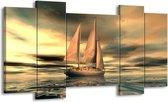 Canvas schilderij Zeilboot | Geel, Wit, Grijs | 120x65 5Luik