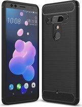 HTC U12+ Geborsteld TPU Hoesje Zwart