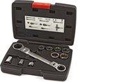 HBM 15 in 1 Doorsteek Ring Ratel Steeksleutelset inclusief 1/4 - 3/8 en 1/2 Opname