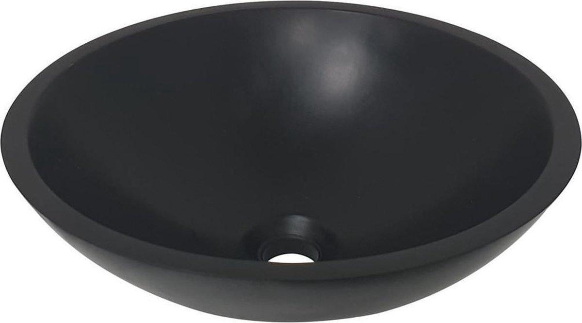 Waskom Opbouw Rond 43x43x13cm Solid Surface Mat Zwart